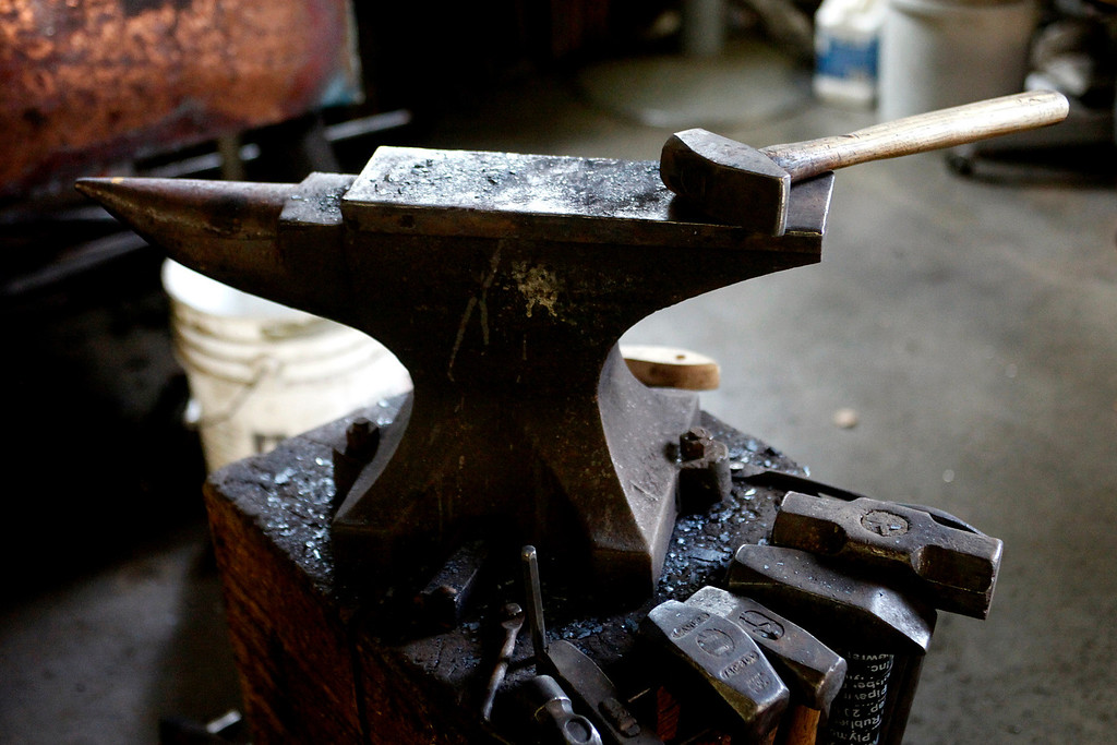 Description of . An anvil in blacksmith John Hudson's shop across from Point Lobos in Carmel, Calif. on Wednesday August 21, 2013.  (Photo David Royal/ Monterey County Herald)