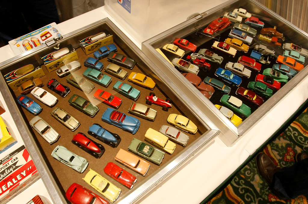 Description of . Sam Halsted's toy car collection at the Automobilia Monterey International Expo at the Embassy Suites in Seaside on August 13, 2013. (Vern Fisher/Monterey County Herald)