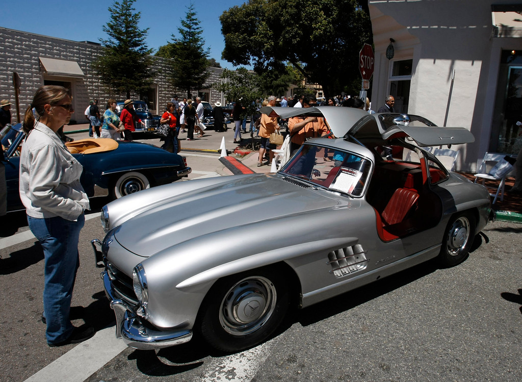 Description of . A 1955 Mercedes gullwing at the Concours on the Avenue in Carmel on Agust 13, 2013.  (Vern Fisher/Monterey County Herald)