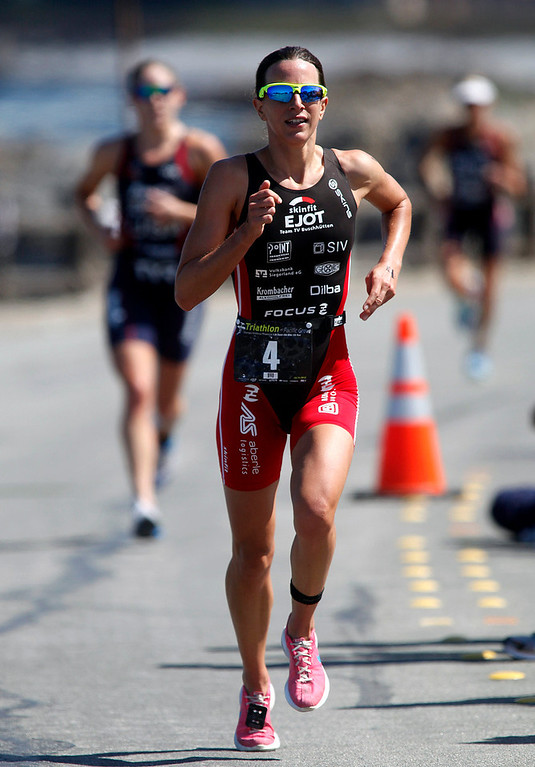 Description of . Womens winner Radka Vodickova of Czechoslovakia runs during the Elite Race at the Pacific Grove Triathlon in Pacific Grove, Calif. on Saturday September 14, 2013.  Photo David Royal/ Monterey County Herald)