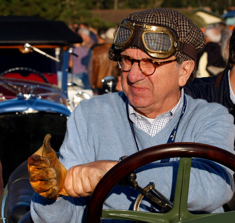 Description of . Everett Louwman gets ready to drive his 1910 Benz 22/80 Prinz Heinrich Renn Wagen during the Tour d'Elegance on August 15, 2013.  (Vern Fisher/Monterey County Herald)