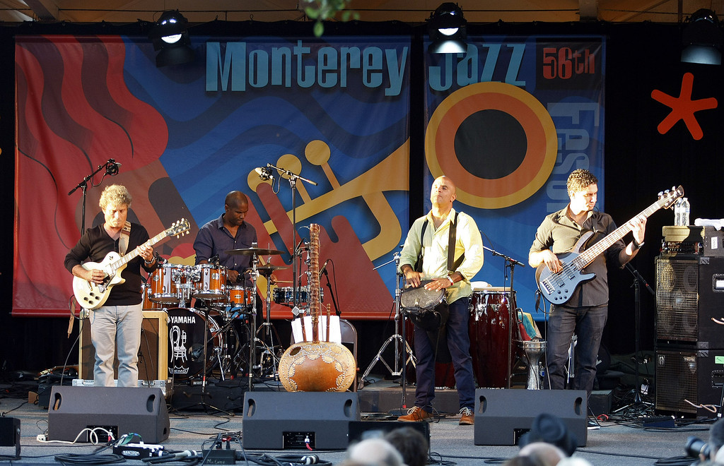 Description of . Roberto Fonseca performs on the Garden Stage during the 56th Monterey Jazz Festival at the Monterey Fairgrounds on Sept. 20, 2013.  (Vern Fisher/Monterey County Herald)