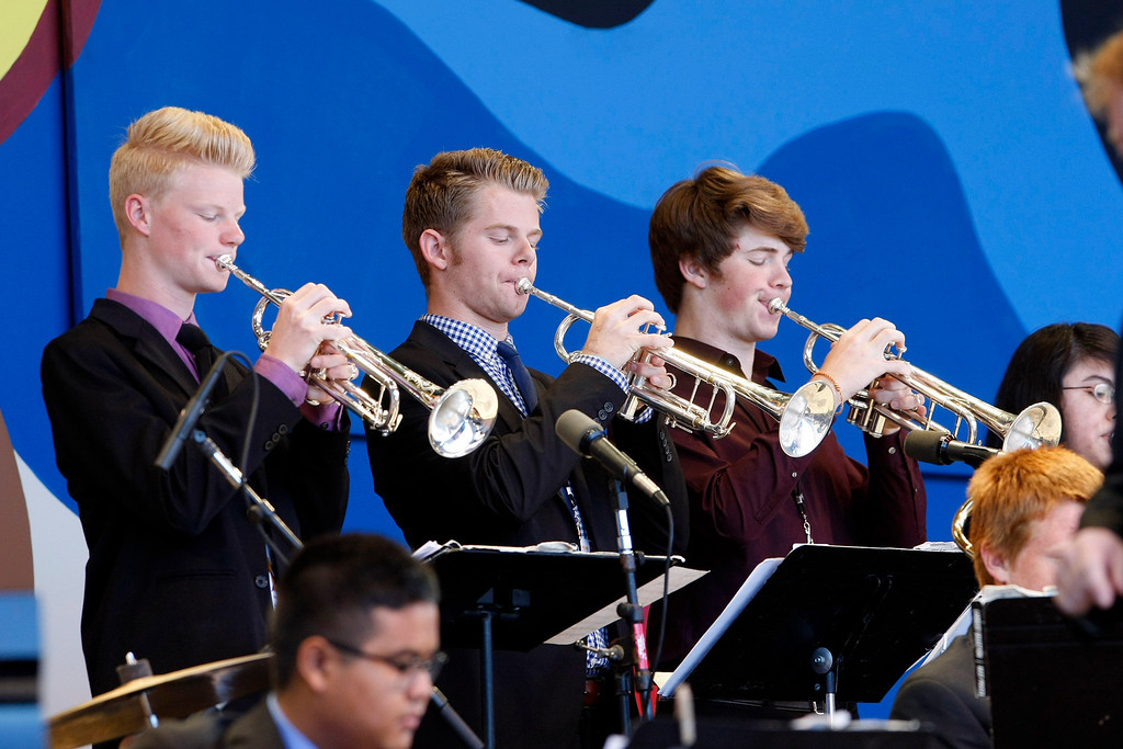 Description of . Members of the Folsom High Jazz Band performs at the Monterey Jazz Festival on Sept. 22, 2013.  (Vern Fisher/Monterey County Herald)