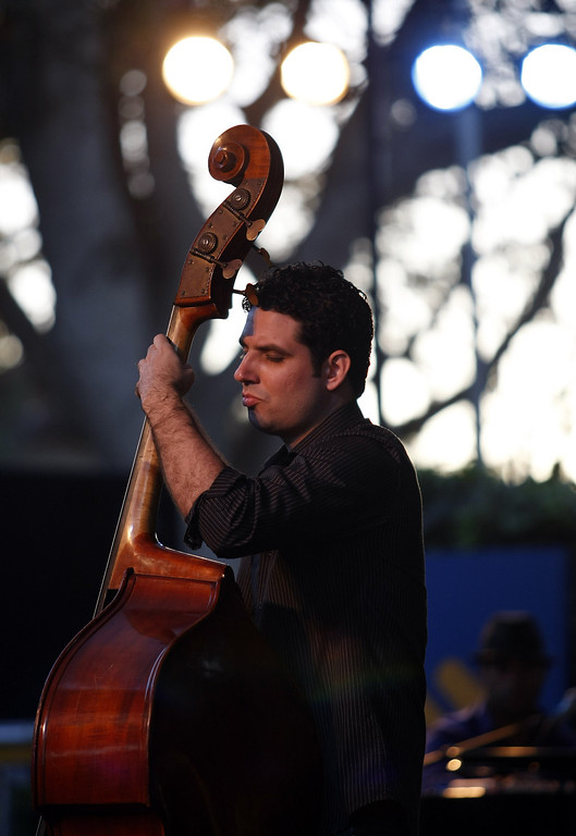Description of . Yandy Martinez plays bass with the Roberto Fonseca group on the Garden Stage during the 56th Monterey Jazz Festival at the Monterey Fairgrounds on Sept. 20, 2013.  (Vern Fisher/Monterey County Herald)