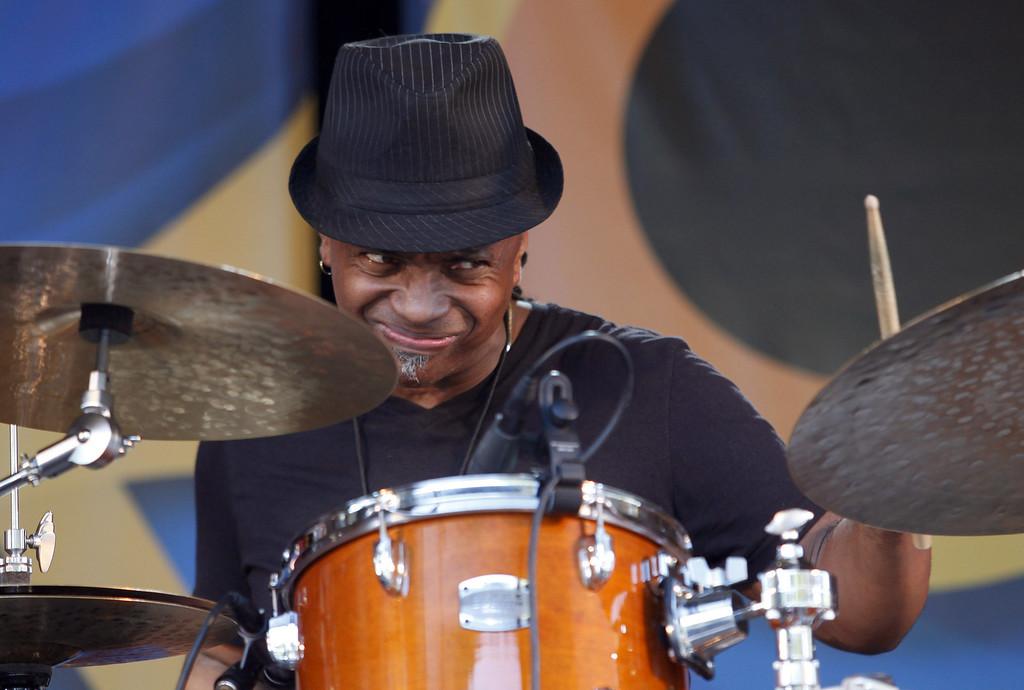Description of . Drummer Deszon Claiborne the Garden Stage at the Monterey Jazz Festival on Sept. 22, 2013.  (Vern Fisher/Monterey County Herald)