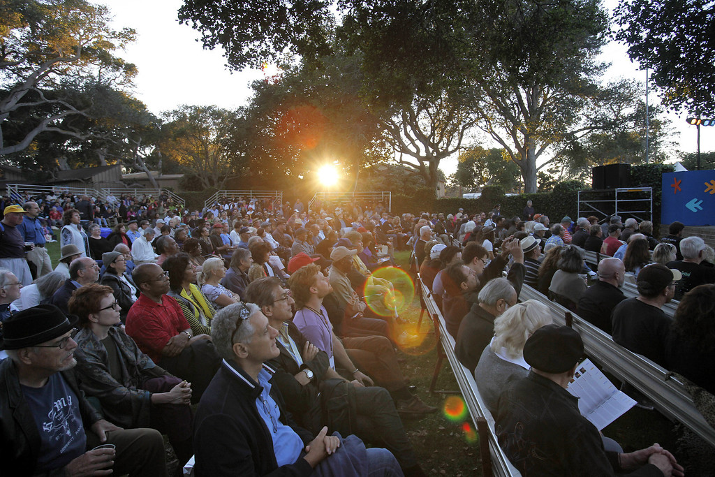 Description of . The first night crowd watches Roberto Fonseca perform on the Garden Stage during the 56th Monterey Jazz Festival at the Monterey Fairgrounds on Sept. 20, 2013.  (Vern Fisher/Monterey County Herald)