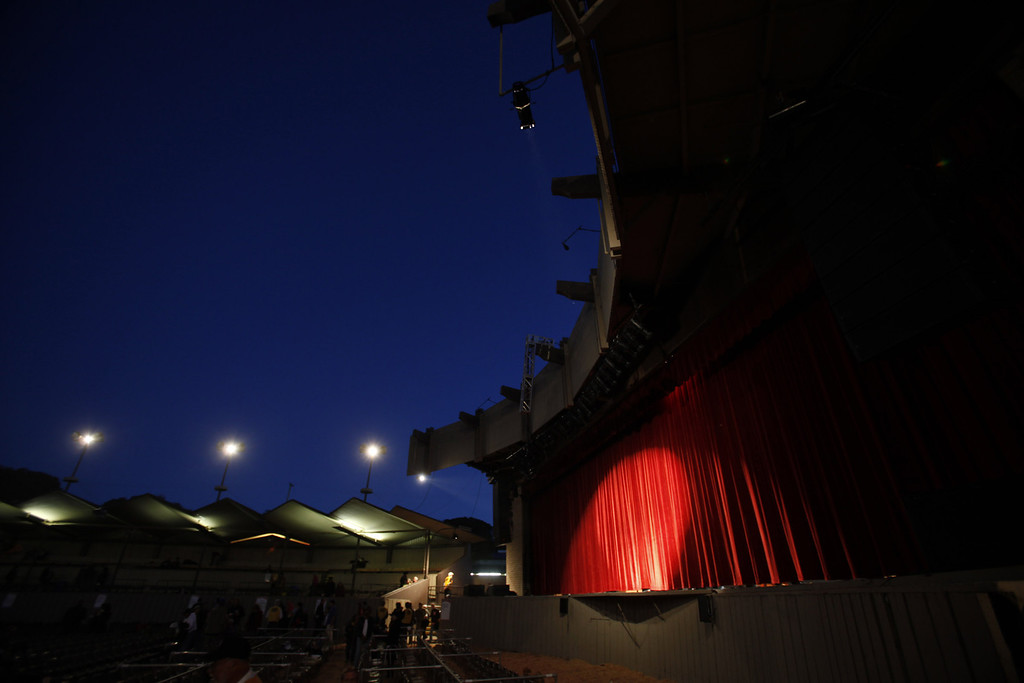Description of . The curtain about to go up on the Jimmy Lyons Stage for the 56th Monterey Jazz Festival at the Monterey Fairgrounds on Sept. 20, 2013.  (Vern Fisher/Monterey County Herald)