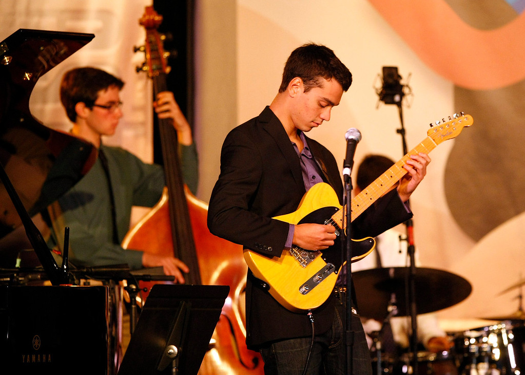 Description of . Max Schwartz, bass, and Sam Klein-Markman, guitar of the Berkeley High School Combo A perform at the Monterey Jazz Festival on Sept. 22, 2013.  (Vern Fisher/Monterey County Herald)