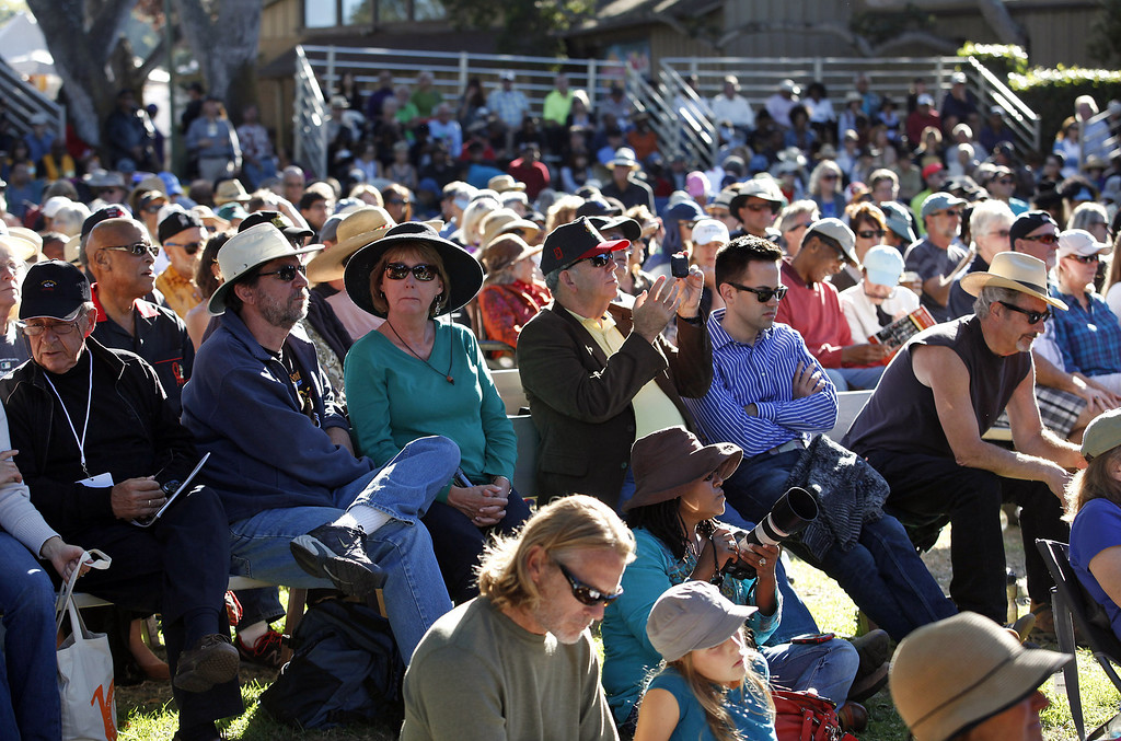 Description of . The crowd enjoys the Davina Sowers of Davina and The Vagabonds on the Garden Stage at the Monterey Jazz Festival on Sept. 22, 2013.  (Vern Fisher/Monterey County Herald)