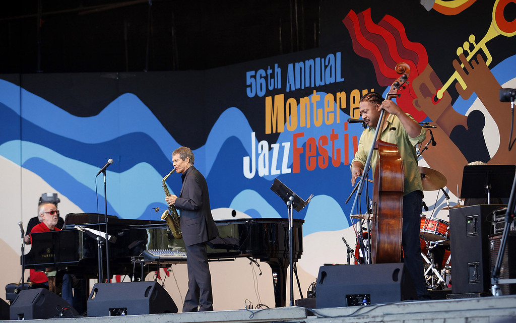 Description of . Bob James, David Sanborn and James Genus on the Jimmy Lyons Stage at the Monterey Jazz Festival on Sept. 22, 2013.  (Vern Fisher/Monterey County Herald)