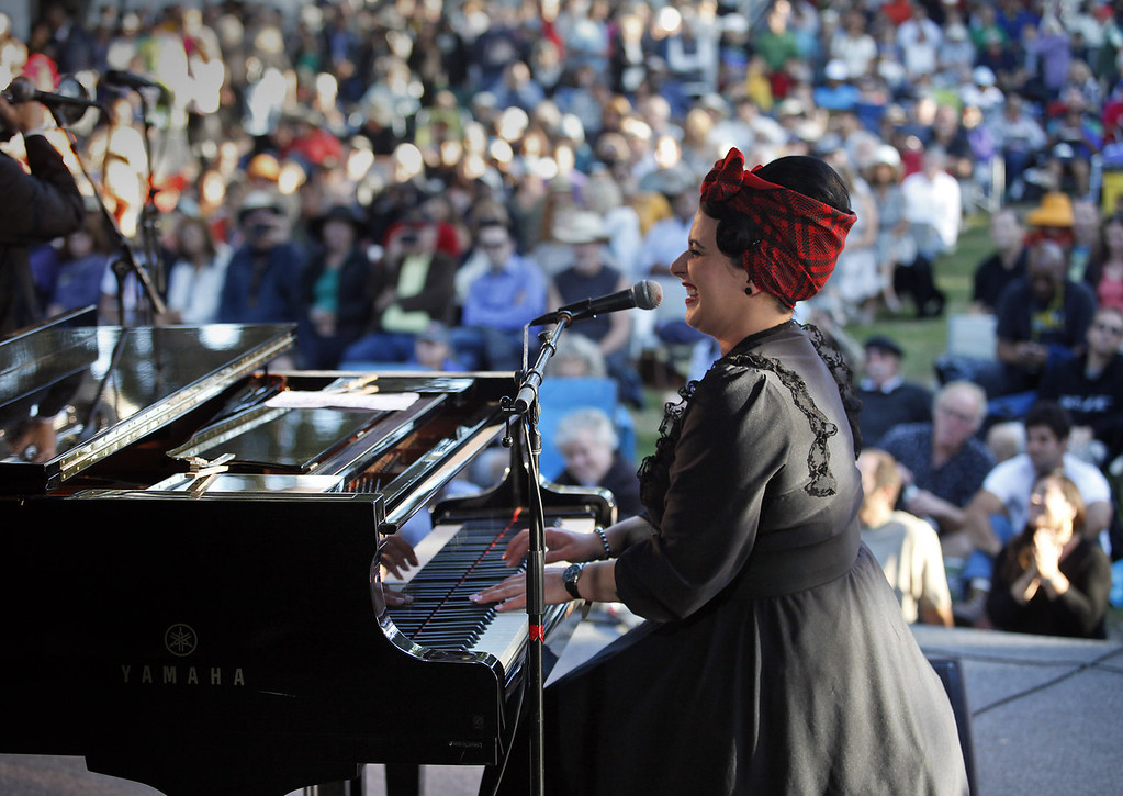Description of . Davina Sowers of Davina and The Vagabonds on the Garden Stage at the Monterey Jazz Festival on Sept. 22, 2013.  (Vern Fisher/Monterey County Herald)