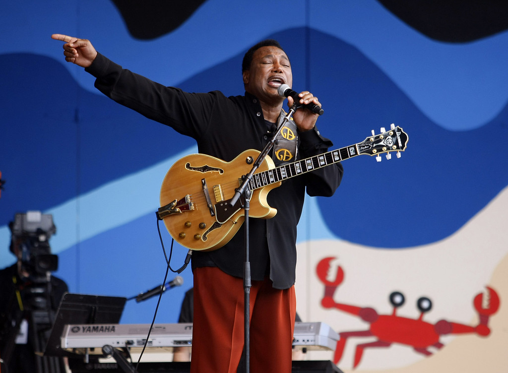 Description of . George Benson performs at the Jimmy Lyons Stage at the Monterey Jazz Festival on Sept. 21, 2013.  (Vern Fisher/Monterey County Herald)