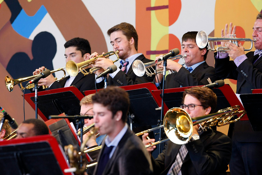 Description of . The Next Generation Jazz Orchestra performs at the Monterey Jazz Festival on Sept. 22, 2013.  (Vern Fisher/Monterey County Herald)