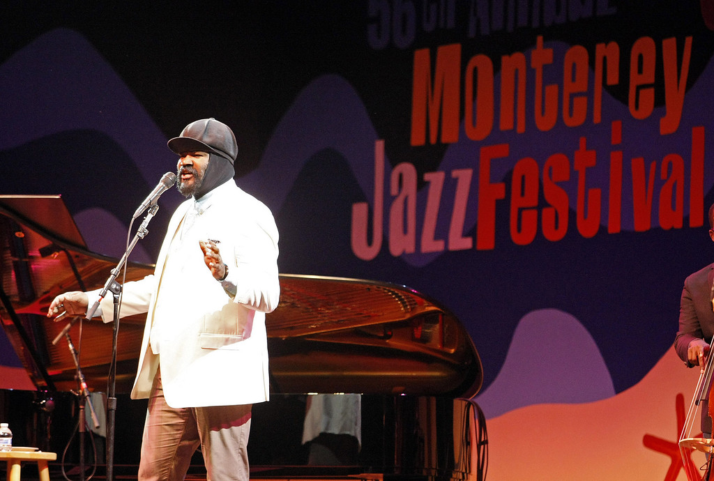 Description of . Gregory Porter performs on the Jimmy Lyons Stage during the 56th Monterey Jazz Festival at the Monterey Fairgrounds on Sept. 20, 2013.  (Vern Fisher/Monterey County Herald)