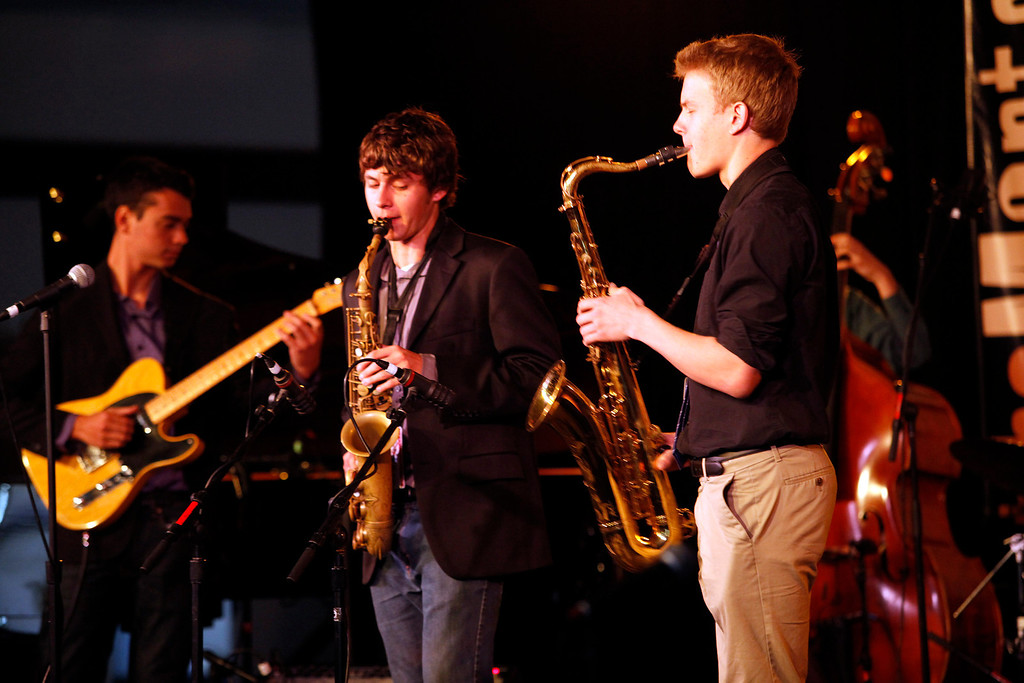 Description of . Sam Klein-Markham Hugo Shiboski and Liam Collins of the Berkeley High School Combo A performs at the Monterey Jazz Festival on Sept. 22, 2013.  (Vern Fisher/Monterey County Herald)