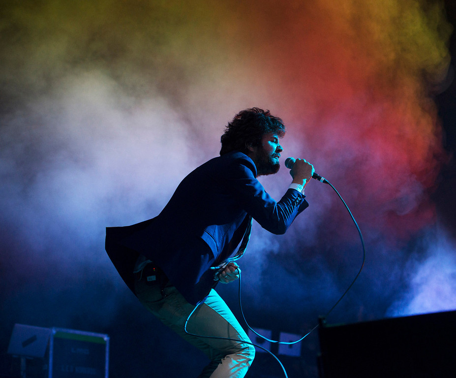Description of . Passion Pit frontman Michael Angelakos performs at the First City Music Festival, Saturday, August 24th, 2013 at the Monterey County Fairgrounds. (Matthew Hintz/Monterey County Herald)