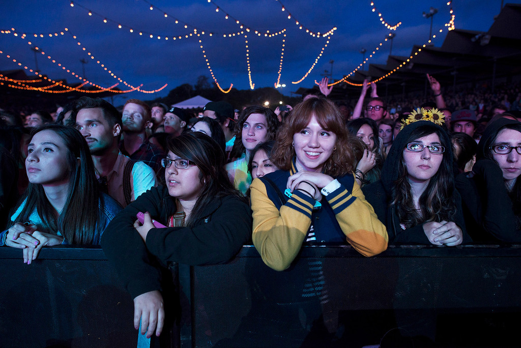 Description of . The audience listens as MGMT performs at the First City Music Festival, Saturday, August 24th, 2013 at the Monterey County Fairgrounds. (Matthew Hintz/Monterey County Herald)