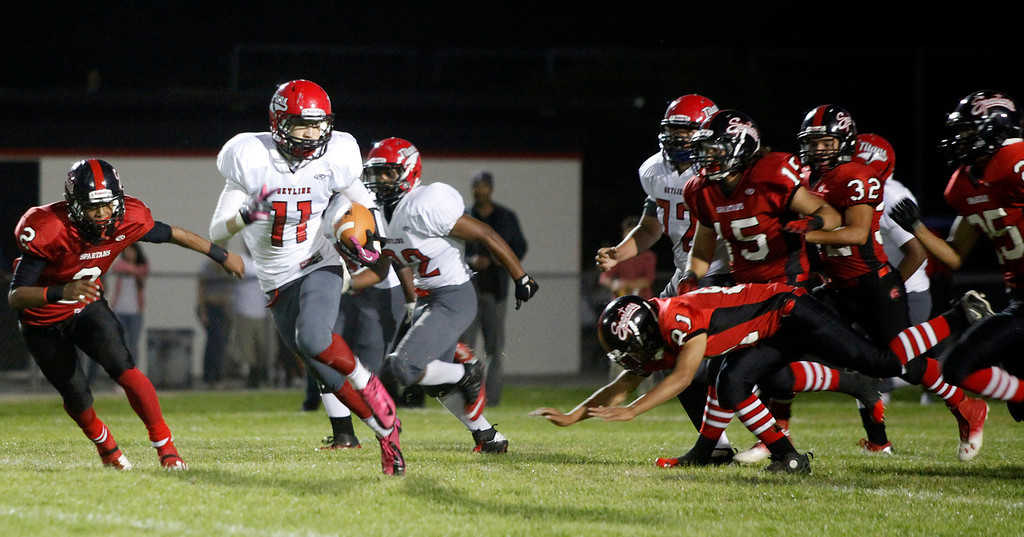 Description of . Skyline's Golden Venters carries the ball during football in Seaside, Calif. on Friday September 6, 2013. Photo David Royal/ Monterey County Herald)