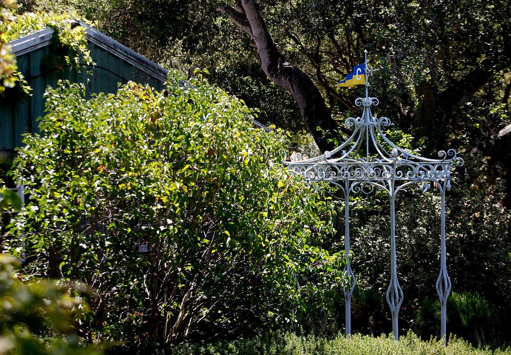 . A larger piece of metalwork sits in the backyard of blacksmith John Hudson\'s shop across from Point Lobos in Carmel, Calif. on Wednesday August 21, 2013.  (Photo David Royal/ Monterey County Herald)