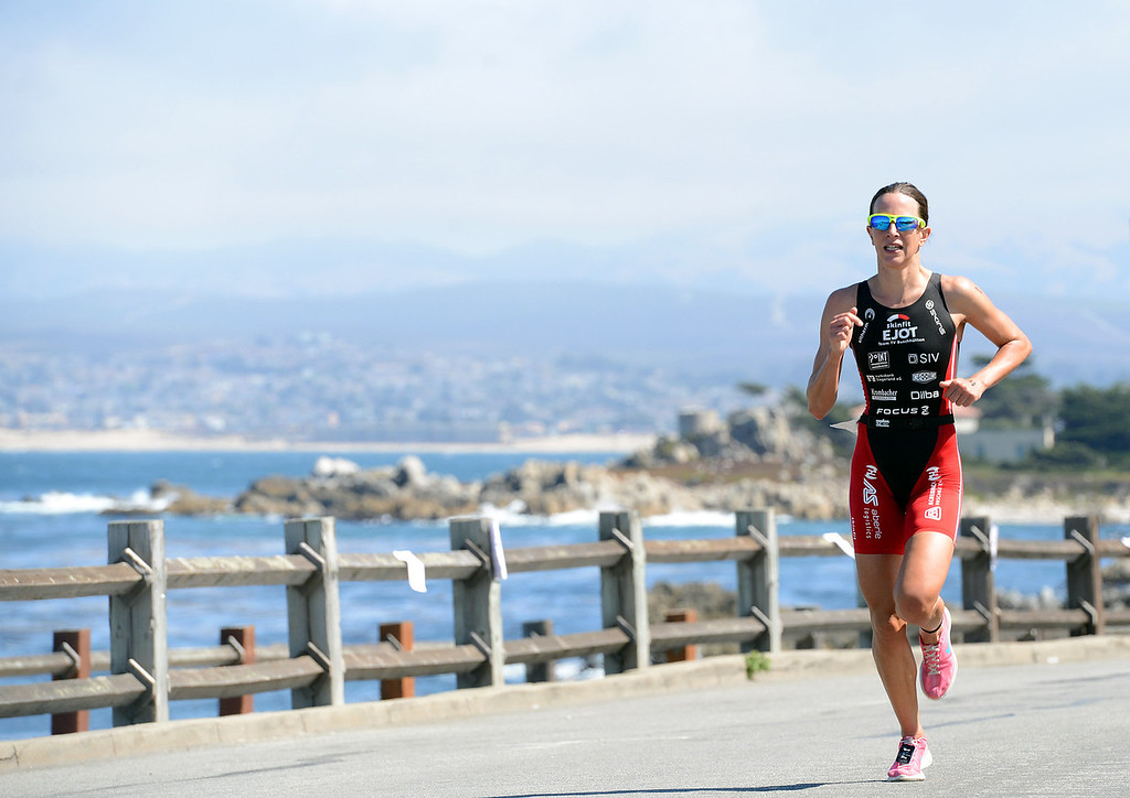 . Womens winner Radka Vodickova of Czechoslovakia runs during the Elite Race at the Pacific Grove Triathlon in Pacific Grove, Calif. on Saturday September 14, 2013.  Photo David Royal/ Monterey County Herald)