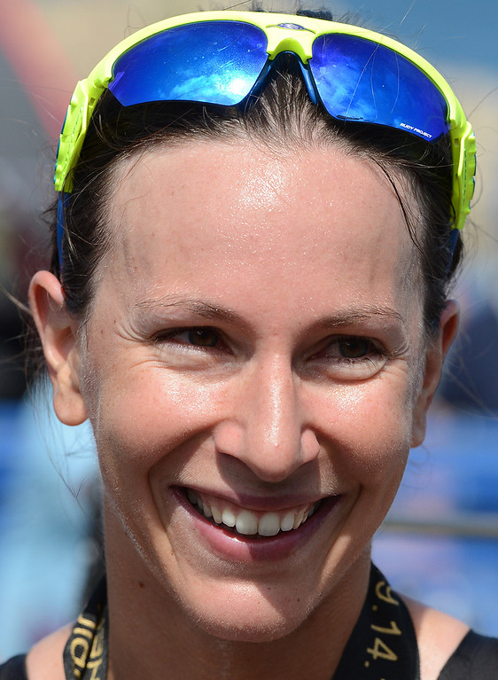 . Womens winner Radka Vodickova of Czechoslovakia after the Elite Race at the Pacific Grove Triathlon in Pacific Grove, Calif. on Saturday September 14, 2013.  Photo David Royal/ Monterey County Herald)