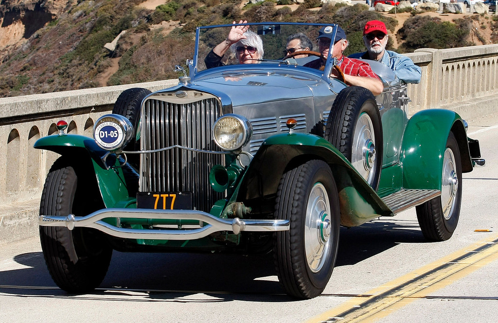 . A 1929 Lincoln L LeBaron Aero Phaeton on Highway 1 over the Bixby Creek Bridge during the Tour d\'Elegance on August 15, 2013.  (Vern Fisher/Monterey County Herald)