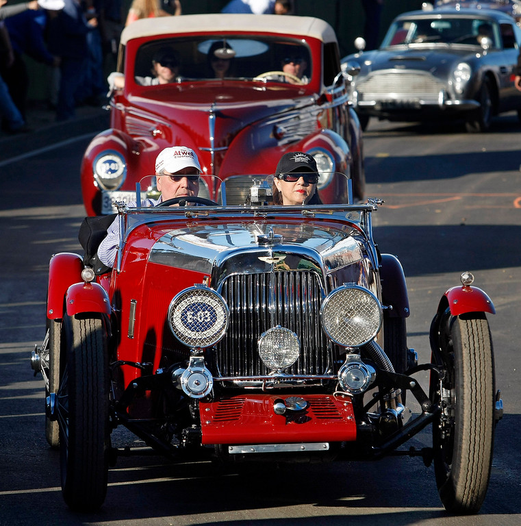 . Richard Atwell heads out in his 1935 Aston Martin Mark II Bertelli long chassis  during the Tour d\'Elegance in Pebble Beach on August 15, 2013.  (Vern Fisher/Monterey County Herald)