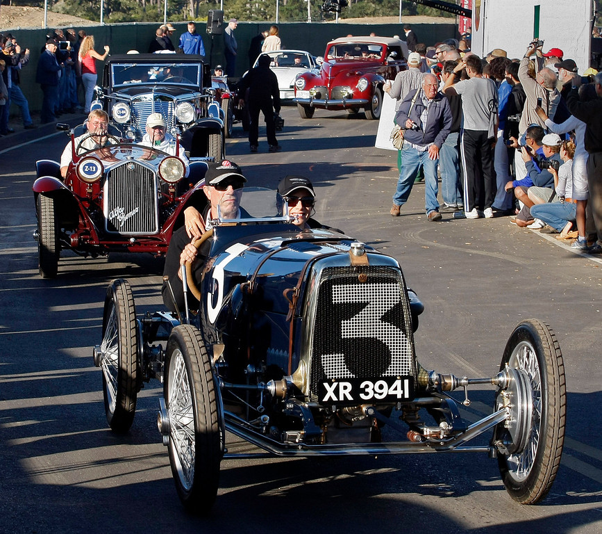 . Classic cars begin the Tour d\'Elegance in Pebble Beach on August 15, 2013.  (Vern Fisher/Monterey County Herald)