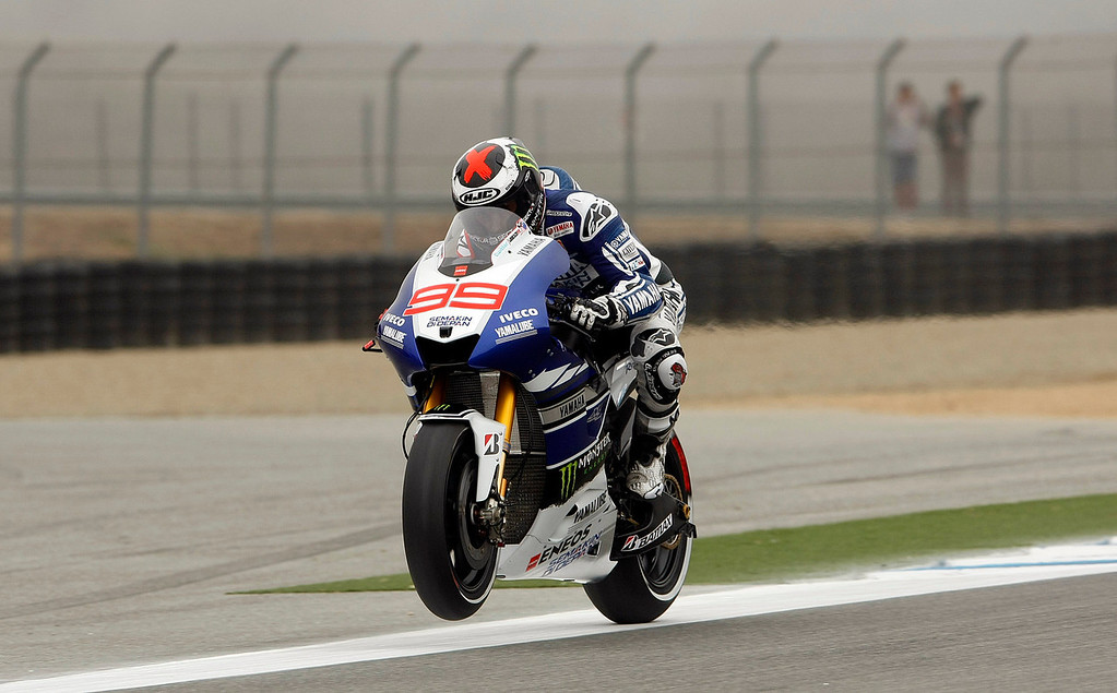 . MotoGp rider Jorge Lorenzo from Spain, despite being injured participated in the first day of practice for the Red Bull Grand Prix at Mazda Raceway Laguna Seca on July 19, 2013.  (Vern Fisher/Monterey County Herald)