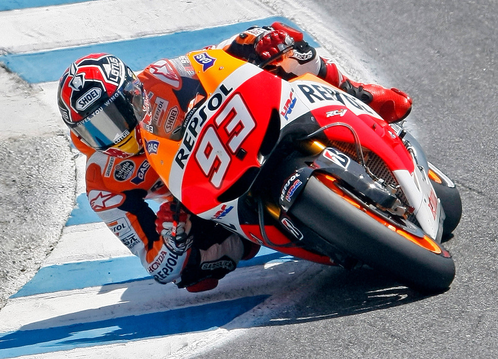 . Marc Marquez from Spain in the corkscrew at Mazda Raceway Laguna Seca during the Red Bull U.S. Grand Prix in Monterey on July 21, 2013.  Marquez went on to win the race.  (Vern Fisher/Monterey County Herald)