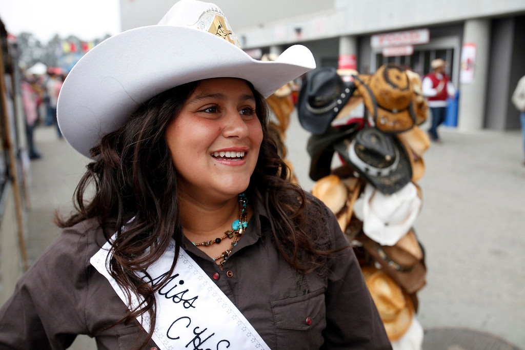 . Michelle Serna, 15, from Salinas of the California High School Rodeo Association at the California Rodeo Salinas on July 18, 2013.  (Vern Fisher/Monterey County Herald)